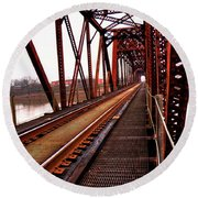 Round Beach Towel featuring the photograph Railroad 2 by Ester Rogers