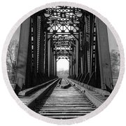 Railroad Bridge Black And White Round Beach Towel