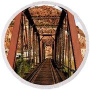 Railroad Bridge Round Beach Towel
