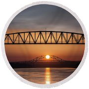 Railroad Bridge Framing The Bourne Bridge During A Sunrise Round Beach Towel