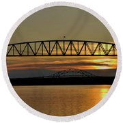 Railroad Bridge Over The Canal Round Beach Towel