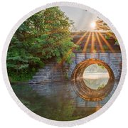 Railroad Bridge Round Beach Towel