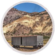 Round Beach Towel featuring the photograph Railroad Car In A Beautiful Setting by Sue Smith
