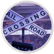 Railroad Crossing Sign  Round Beach Towel