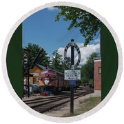 Round Beach Towel featuring the photograph Railroad Crossing by Suzanne Gaff