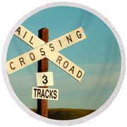 Railroad Crossing Round Beach Towel by Todd Klassy