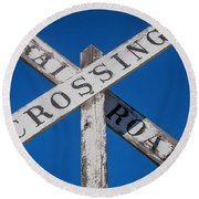Railroad Crossing Wooden Sign Round Beach Towel