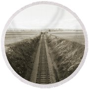 Railroad Cut, West Of Gettysburg Round Beach Towel