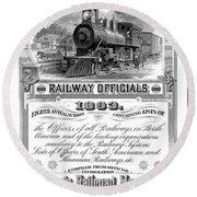 Railroad Official Directory  1893 Round Beach Towel by Daniel Hagerman