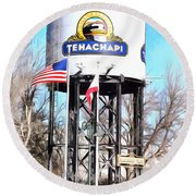 Round Beach Towel featuring the photograph Railroad Park Tehachapi California by Floyd Snyder