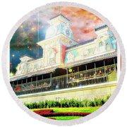 Railroad Station Magic Kingdom Walt Disney World, Fantasy Starry Round Beach Towel
