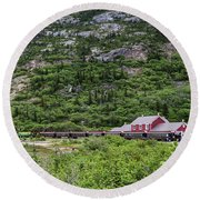 Round Beach Towel featuring the photograph Railroad To The Yukon by Ed Clark
