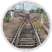 Round Beach Towel featuring the photograph Railroad Tracks And Junctions by Antony McAulay