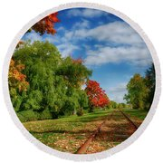 Railroad Tracks At Grand-pre National Historic Site Round Beach Towel by Ken Morris