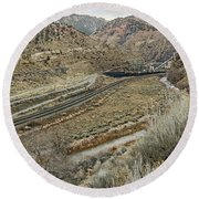 Round Beach Towel featuring the photograph Railroad Tracks Lead To Power Plant by Sue Smith