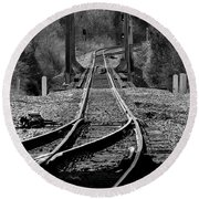 Round Beach Towel featuring the photograph Rails by Douglas Stucky