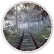 Rails To A Forgotten Place Round Beach Towel