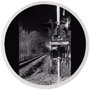 Railway 2 Black And White Round Beach Towel