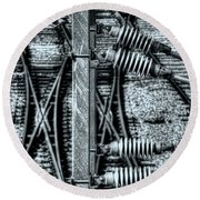 Round Beach Towel featuring the photograph Railway Detail by Wayne Sherriff