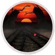 Railway To The Sunset Round Beach Towel by Mihaela Pater