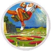 Railway Travel Poster Berwick-upon-tweed Lance Cattermole. Round Beach Towel