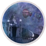 Rain And Balloons At Hearst Castle Round Beach Towel by Jeff Burgess