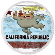 Rain And Drought In California Round Beach Towel