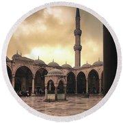 Rain At The Blue Mosque Round Beach Towel