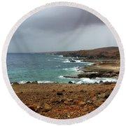 Rain Clouds Brewing Off The Coast Of Island Of Aruba Round Beach Towel