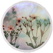 Rain Dance Among The Flowers Round Beach Towel