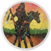 Rain Forest Rider Round Beach Towel