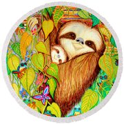 Rain Forest Survival Mother And Baby Three Toed Sloth Round Beach Towel