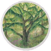 Round Beach Towel featuring the painting Rain Forest Washington State by Vicki  Housel