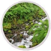 Rain Forest Waterfall Round Beach Towel