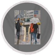 Rain In Midtown Round Beach Towel