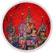 Rain In Moskau Popart By Nico Bielow Round Beach Towel by Nico Bielow