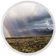 Round Beach Towel featuring the painting Rain In The Desert by Dennis Ciscel