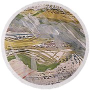Rain In The  Valley Round Beach Towel