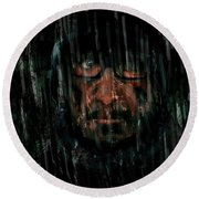 Round Beach Towel featuring the painting Rain Nor Sleet Nor Snow by Jim Vance