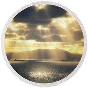 Rain Of Light Round Beach Towel