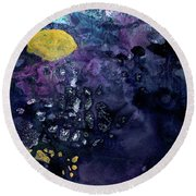Rain On A Sunny Day - Colorful Dark Contemporary Abstract Round Beach Towel