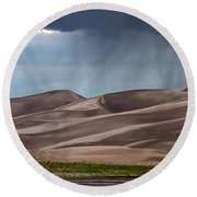 Rain On The Great Sand Dunes Round Beach Towel by Catherine Sherman