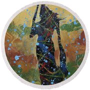 Rain On The Hill Round Beach Towel
