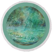 Round Beach Towel featuring the painting Rain On The Pond by Mary Wolf