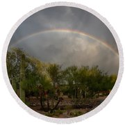 Round Beach Towel featuring the photograph Rain Then Rainbows by Dan McManus