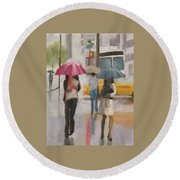 Rain Walk Round Beach Towel