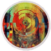 Round Beach Towel featuring the digital art Rainbolo - 01t01ii by Variance Collections