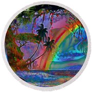 Rainboow Drenched In Layers Round Beach Towel