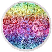 Rainbow Abstract Swirls Round Beach Towel