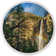 Rainbow And Bridalveil Fall Round Beach Towel